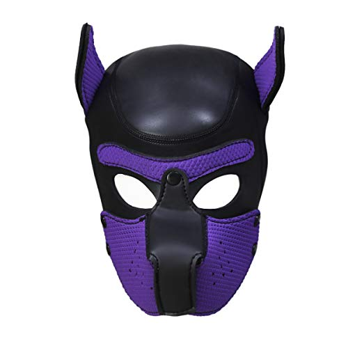 Zhengya Full Face Mask Dog Puppy Hood Leather Helmet Removable Mouth Cosplay Costume Party Props(Black&Purple)