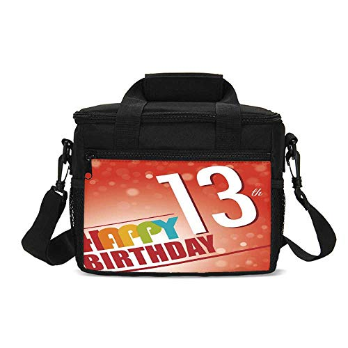 (13th Birthday Decorations Durable Lunch Bag,Retro Style Teenage Party Invitation Graphic Design Bokeh Rays for Picnic Travel,9.4
