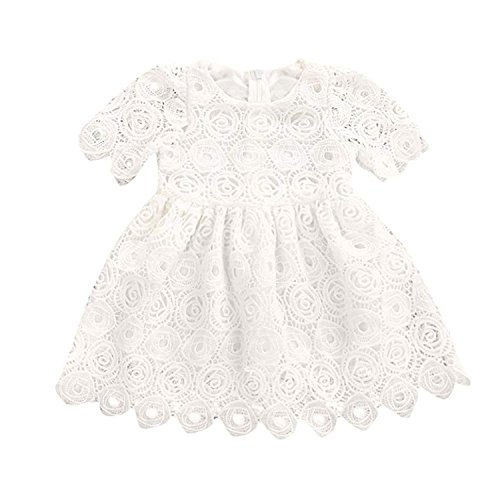 BELS Baby Girls Princess Dress Lace Flower White Party Wedding Summer Dress Clothes (White2, 0-6M) by BELS