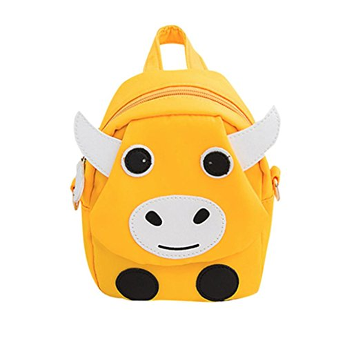 Vertily Toddler School Backpack 3D Cartoon Animal Design Lunch Box Bag, Cute Cow (Yellow) by Vertily Bag