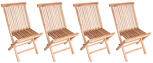 Zenvida Teak Wood Folding Patio Dining Chair Set of 4 (4 Chairs) Review
