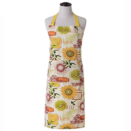 KINGO HOME Adjustable 100% Cotton Garden Cooking Women Kitchen Bib Aprons, with Pockets, Cotton Canvans, Machine Washable