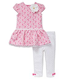 Little Me Baby Girls\' Short Sleeve Fashion Knit Dress with Legging, White/Pink, 12 Months
