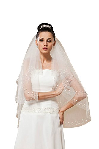 [MISSYDRESS 2 Tier Elbow Tulle Bridal Wedding Veil with Beaded Edge with Comb-V30-White] (Gothic Bride Halloween Makeup)