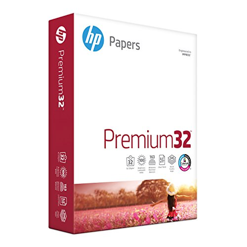 HP Printer Paper, Premium32, 8.5x11, Letter, 32lb Paper, 100 Bright - 1 Ream / 500 Sheets - Presentation Paper (113100R)