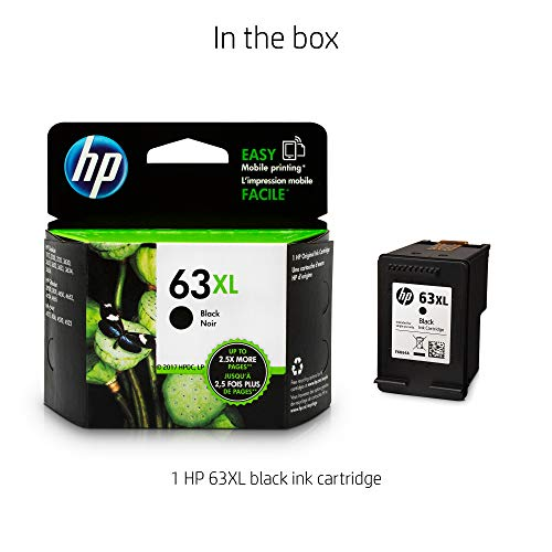 Large Product Image of HP 63XL Black High Yield Original Ink Cartridge (F6U64AN) for HP DeskJet 1112, 2130, 2132, 3630, 3631, 3632, 3633, 3634, 3636, 3637, HP ENVY 4511, 4512, 4516, 4520, 4521, 4522, 4524, HP OfficeJet 3830, 3831, 3832, 3833, 4650, 4652, 4654, 4655