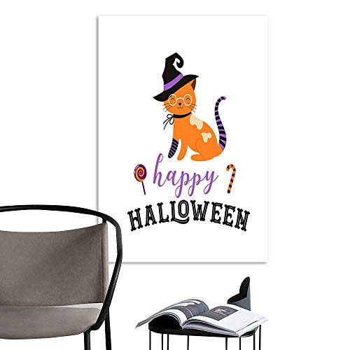 (UHOO Art Print Paintings ModernHappy Halloween - Cats in Monsters Costumes Halloween Party Vector Illustration Banner Elements Set.jpg Living Room Wall Decor and Home Décor)