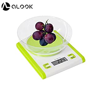 ALOOK 11lb/5kg Digital Multifunctional Kitchen Food Scale, with Removable Bowl Can Measure Weight and Volume (Green)