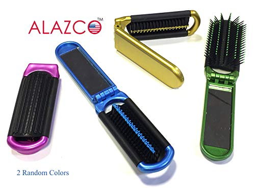 2 ALAZCO Folding Hair Brush With Mirror Compact Pocket Size Travel Car Gym Bag Purse Locker (Hair Mini Brush)