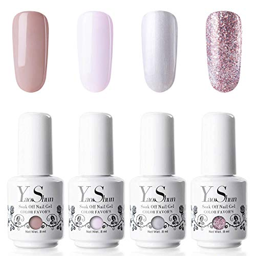 YaoShun Gel Polish Kit - Gel Polish with UV Light Soak Off Nail Gel French Manicure Gel Nail Salon Art Kit 8ml # 01