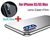 Sinwo New Metal Rear Camera Lens Case Cover Protector Accessory+Film for iPhone Xs/XS Max (Blue)