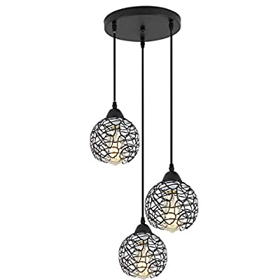 ZhLCY 3-Light Vintage Metal Globe Pendant Lights Industrial Kitchen Island Lighting Rustic Farmhouse Wire Caged Hanging Light fixtures, Matte Black Finish