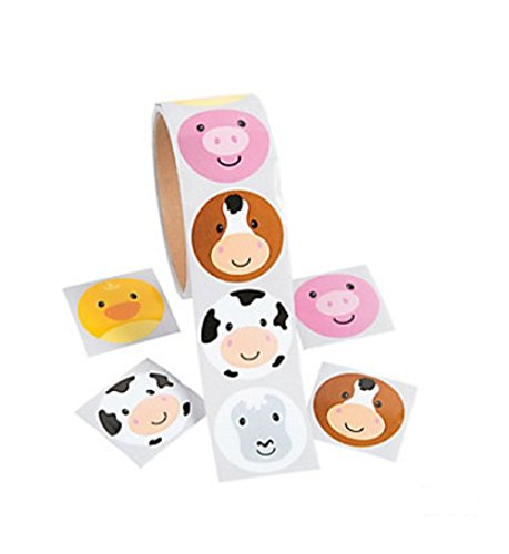 Fun Express Farm FACE Animal Stickers - ROLL of 100