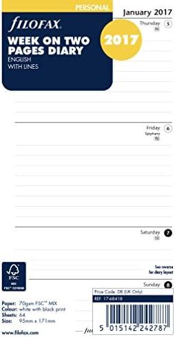 Filofax 17-68418 Agenda personale settimana su 2 pagine a righe per agenda 2017