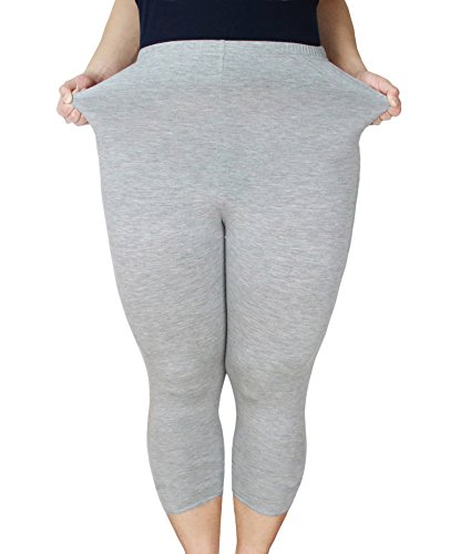 Zerdocean Women's Modal Plus Size Basic Capri Leggings Light Gray 1X