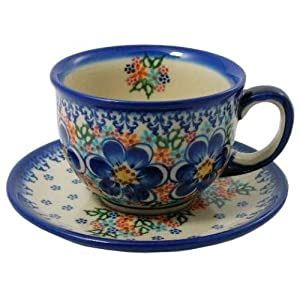 Classic Boleslawiec Pottery Hand Painted Ceramic Cup and Saucer 0.2 litre 033-U-097