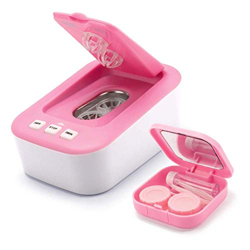 Contact Lens Cleaner, Portable Ultrasonic Contact Lens Cleaner Kit Daily Care Faster Cleaning for Contact Lens(Pink) (Contact Case Hello Kitty)