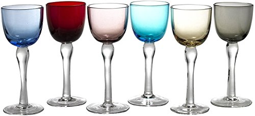 Circleware Splendor Multi Colored Cordial Glasses with Clear Stems, Set of 6, 2 ounce (Cordial Colored Glasses)
