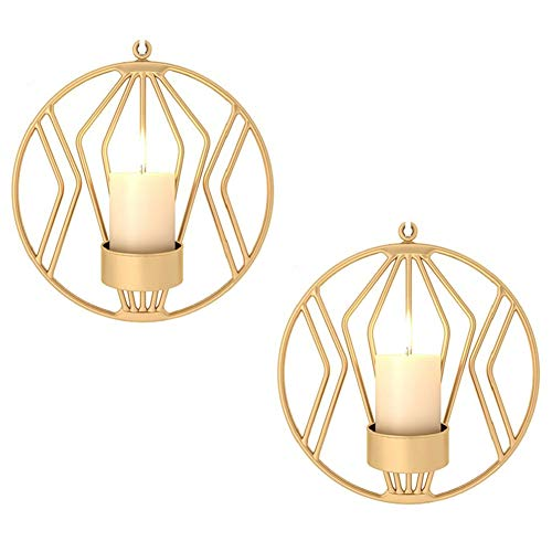 (Sziqiqi Set of 2 Wall Pillar Candle Sconce, Metal Tealight Holders Wall Decorations for Living Room Bedroom, Ideal Gift for Wedding Bedroom Decor (Gold × 2))