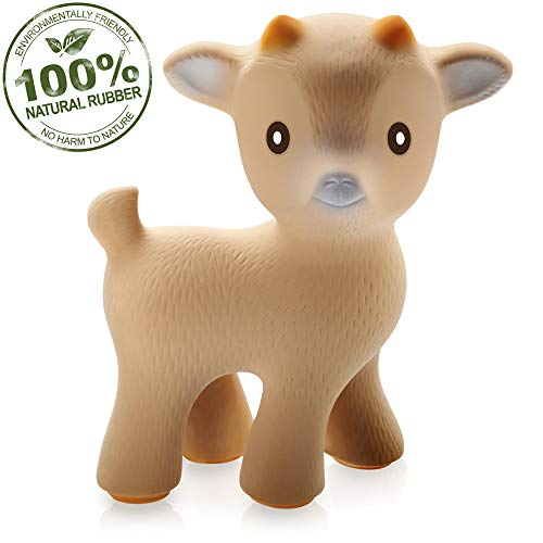 (CaaOcho Pure Natural Rubber Baby Teether Toy - Sola The Goat - Without Holes BPA Free Teething Toy, All Natural, Textured for Sensory Play, Sealed Hole, Hole Free Natural Teether,)