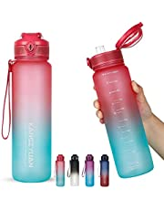 32oz Water Bottle with Scale Marker, 1L Large Capacity Motivational Water Bottles BPA Free, Tritan Material, Flip Lid, Leakproof Security Lock for Fitness Gym Camping Cycling Traveling Office School (Gradient)