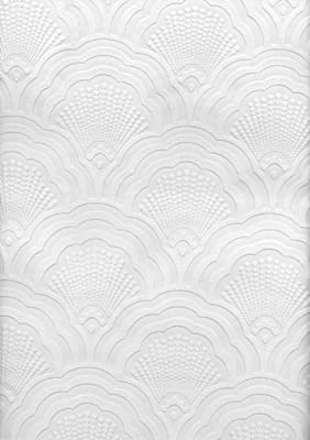 Brewster Scalloped Sea Shell Print Paintable Wallpaper Paintable