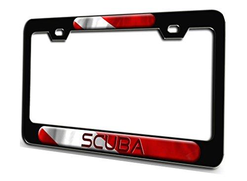 SCUBA Scuba Diving Black Steel License Plate Frame 3D Style