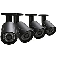 Q-See QCA7209B-4 720p High Definition Analog, Metal Housing, Bullet Security Camera 4-Pack (Black)