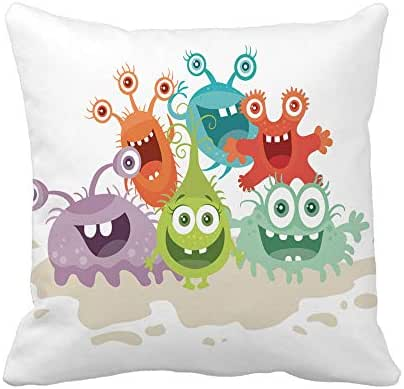 Awowee Throw Pillow Cover Cartoon Monsters Funny Smiling Germs Character Big Eyes 16x16 Inches Pillowcase Home Decorative Square Pillow Case Cushion Cover