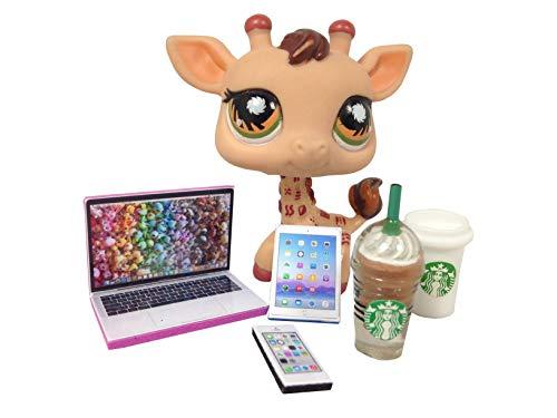 happyblockbuilder LPS Accessories Starbucks Littlest Pet Shop 5 pc. Lot Set: Laptop, Tablet, Phone, + 2 Starbucks; PET NOT Included