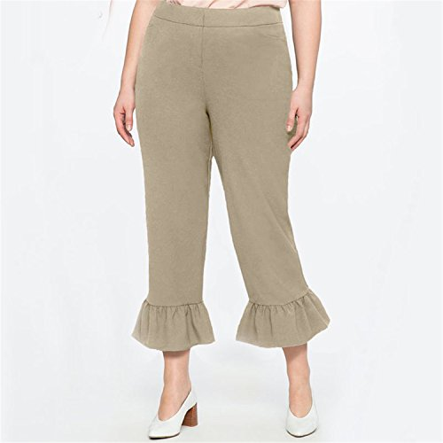 High Waist Skinny Flared Trousers Winter Plus Size Femme Trousers for Women Warm Pants Large Size Broad Leg Pants Pants 6XL Khaki XL