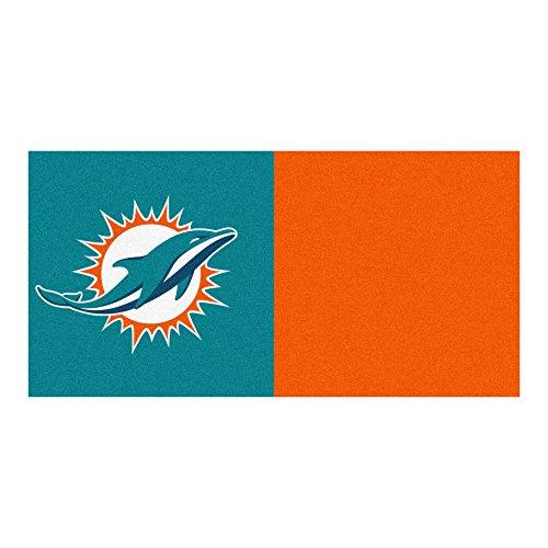 (FANMATS NFL Miami Dolphins Nylon Face Team Carpet Tiles)