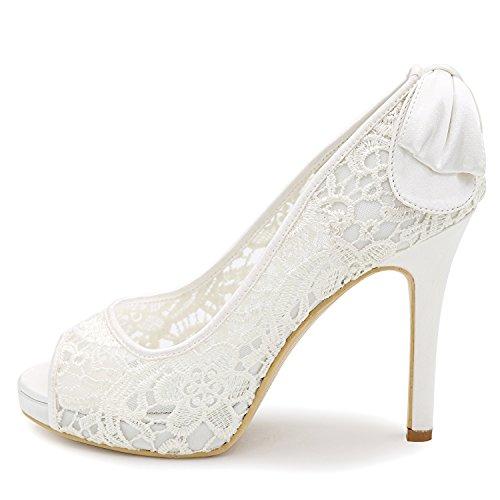 Spillo Pizzo da Tacco Tacco in con E Scarpe Tacco Elobaby Cm Donna Alto 11 Sposa White A UqY8fw