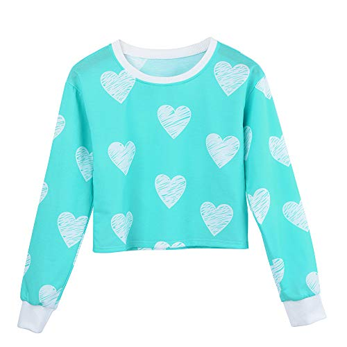 (Saree Blouse Readymade Loving Printing Round Neck Sweatshirt,Women Blouse Long SleeveBlouse Tops Sky)