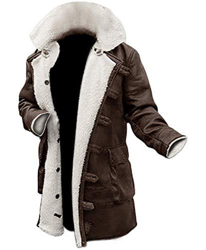 Mens Shearling Coat Brown Leather Swedish Bomber Jacket