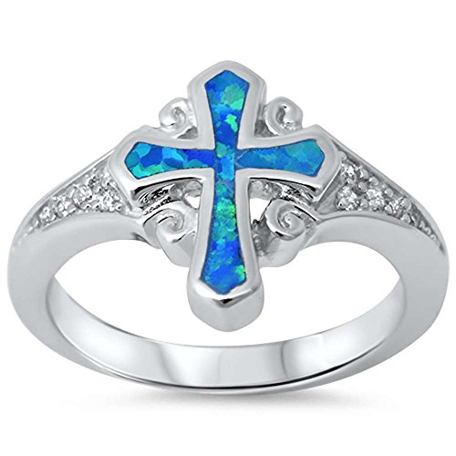 Lab created Blue Opal Cross & Cz .925 Sterling Silver Ring sizes 5-10 (10)