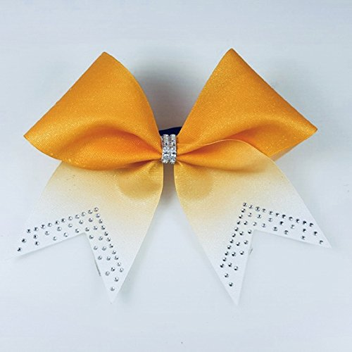 Yellow Gold Cheer Bows - Rhinestone Cheerleading Bow - Volleyball Bow - Softball Team Bow - Texas Size Gift Bow - Glitter Bows - Rhinestone Bows by Arrow and Bowss