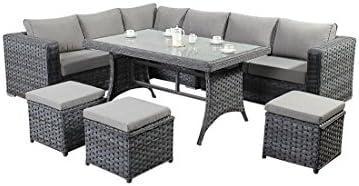 Sofá de la esquina oeste de la mesa - Color: Gris - consta ...