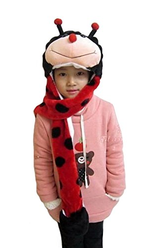 Tonwhar Cartoon Animal Hood Hoodie Hat with Attached Scarf and Mittens (Ladybug) ()