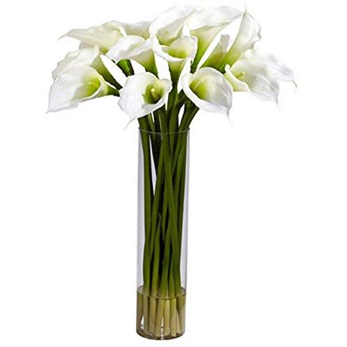 White Calla Lillies With Cylinder Silk Flower Arrangement by Unique's Shop