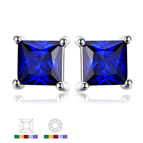 - Jewelrypalace Gemstones Stone Birthstone Created Sapphire Stud Earrings For Women 925 Sterling Silver Earrings For Girls
