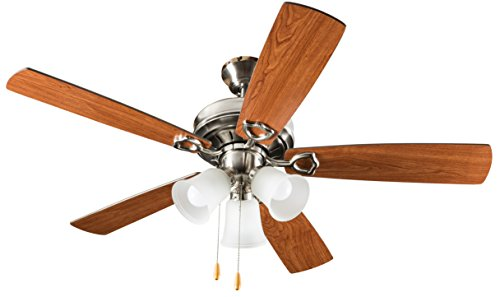 Classic Ceiling Blade Fan (Hyperikon Indoor Ceiling Fan with Lights, 52-Inch Brushed Nickel Ceiling Fan, Five Reversible Blades, Three Lights with Pull Chain - Bulb Not Included)