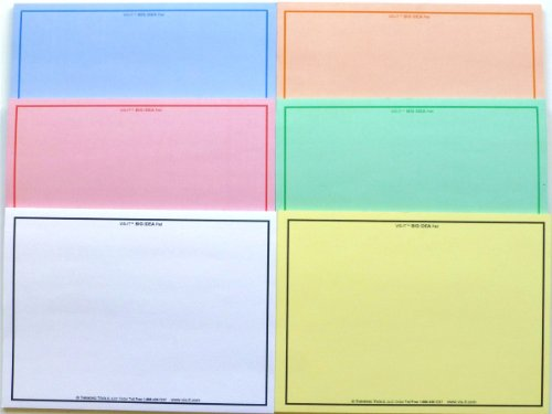 Large 8-Inch VIS-IT Big Idea Sticky Notes Pad Set of Six Colors (300 Sheets Total)