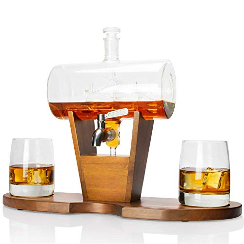 Atterstone Cylinder Ship Whiskey Decanter Set, Full Set with 2 Whiskey Glasses, Decanter Stand, 9 Whiskey Sipping Stones and Funnel, 1150-ml