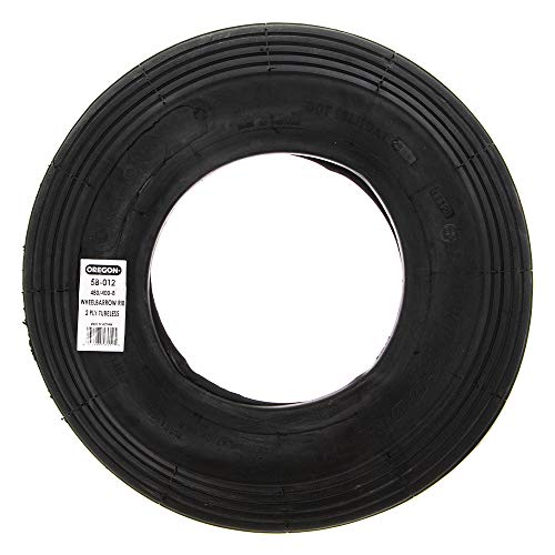 Oregon 58-012 480/400-8 Wheelbarrow Rib Tread Tubeless Tire 2-Ply ()