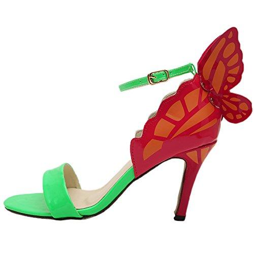 HooH Women's Sandals Peep Toe Stiletto Multicolor Butterfly Pumps Green A2iRvl6BX