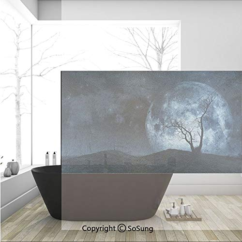 3D Decorative Privacy Window Films,Night Moon Sky with Tree Silhouette Gothic Halloween Colors Scary Artsy Background,No-Glue Self Static Cling Glass film for Home Bedroom Bathroom Kitchen Office 36x2 -