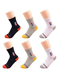 T.H.L.S Boys Kids Cotton Socks Crew Basic Socks for School Sports Running 5 or 6 Pairs 1-11 Years