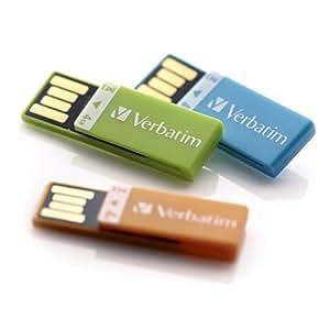 Verbatim 4 GB Clip-IT USB 2.0 Flash Drive 3 Pack, Orange, Blue, Green 97563
