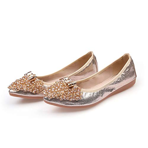 foldable shoes work nbsp;office 38 shallow shoes rhinestone autumn shoes nbsp; flat pointed and Spring FLYRCX portable EU ballet Sx6q8ZC